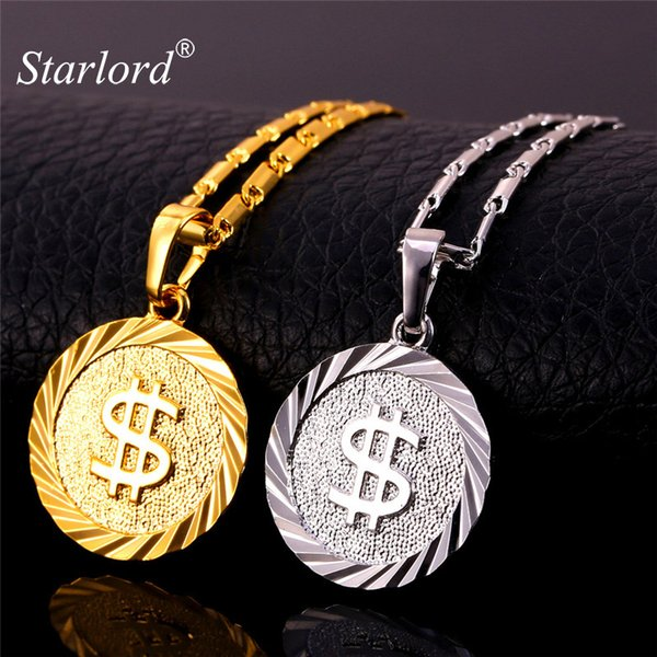 Fashion Jewelry Starlord Dollar Coin Necklace Men/Women Pendant Necklace US Money Sign Chain Gold/Silver Color Fashion Jewelry P1402