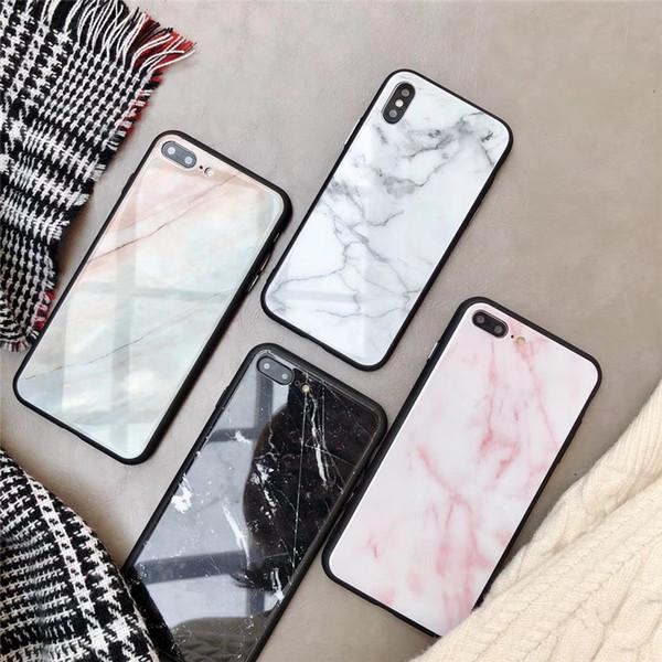 Iphone 7 için 8 X Durumda moda mermer cam Telefon Kılıfı için iphone X 8 8 artı 7 artı 6 6 S 6 artı Sert Arka Kapak darbeye ...