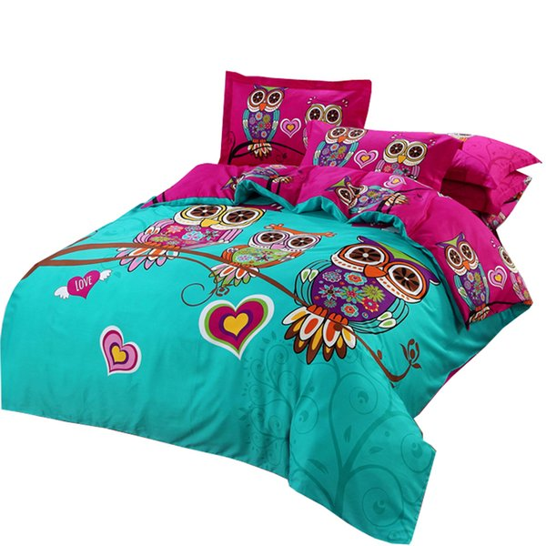 Owl Duvet cover set kids Cartoon 3d bedding sets 3/5pc Cotton Quilt Cover and Pillowcases twin double queen king size