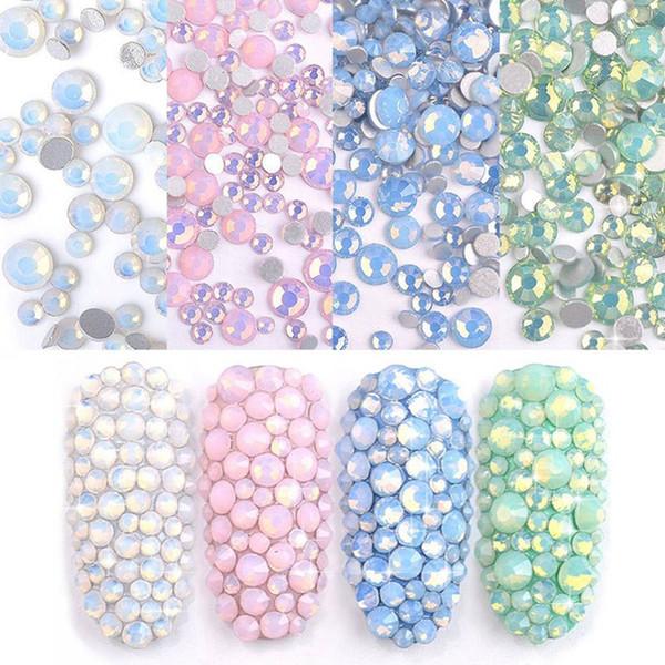1 Pack Mix White Opal Crystal Nail Art Rhinestones 3d Charm Glass Flatback Non Hotfix DIY Nail Jewelry Sticker Decorations