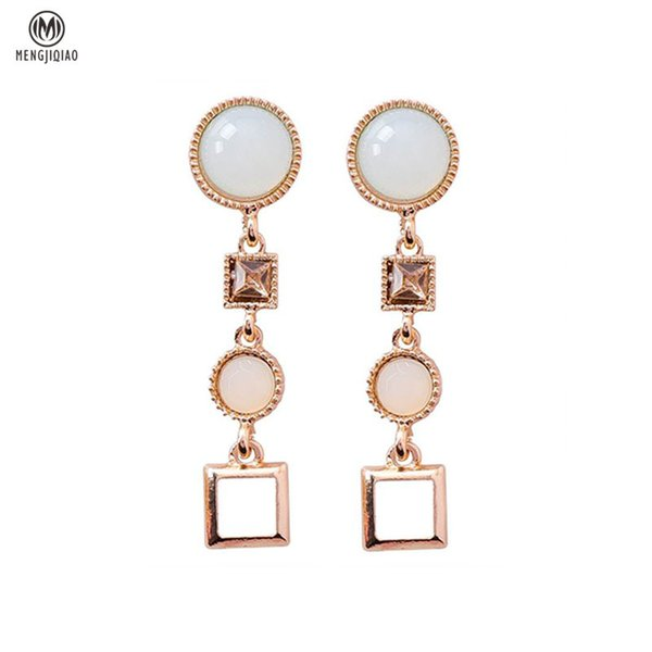 MENGJIQIAO 2018 New Korean Candy Color Beads Dangle Earrings Women Round Square Vintage Brincos Earings Fashion Jewelry S914