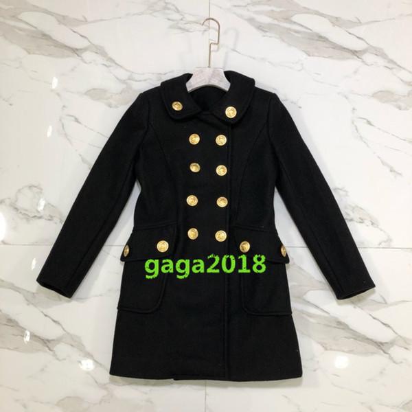 Women girl wool long jacket Outerwear Coats Winter warm Wool high end vogue wear slim check tunic warm long jacket dress style channel