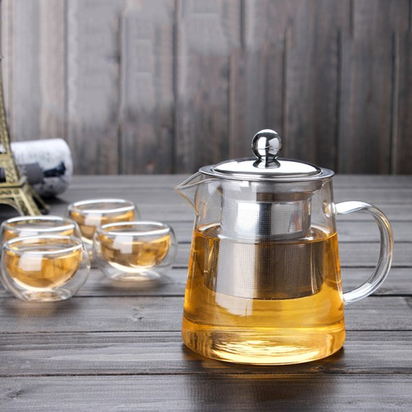 Heat-resistant Glass Tea Pot Kettle Stainless Steel Filtering Teapot Flower Teapot High-temperature Resistance Glass Tea Set BH256