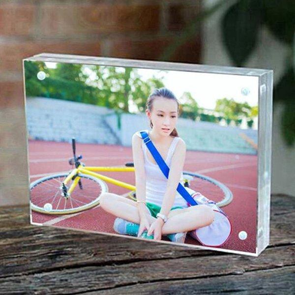 7'' 178x127mm Thickness 10+10mm Acrylic Magnet Photo Frame Home Decor Creative Rectangle Crystal Picture Frame Custom Any Size