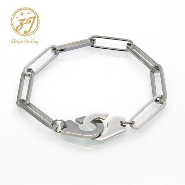 Zhijia Edelstahl Handschellen Punk Armbänder Für Frauen Silber Armbänder Kette Armreifen Modeschmuck Sommer Stil Geschenk