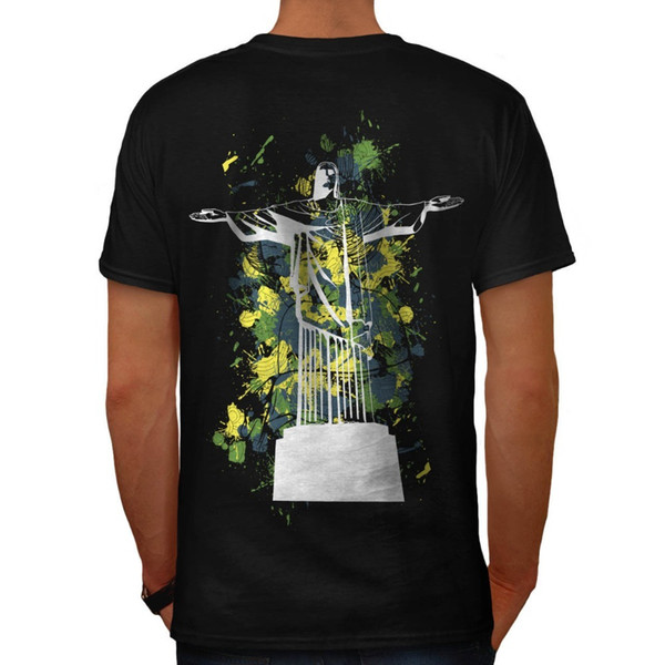 T Shirt Printing Crew Neck Christ The Redeemer Rio Brazil Back Short-Sleeve Printing Mens Shirt