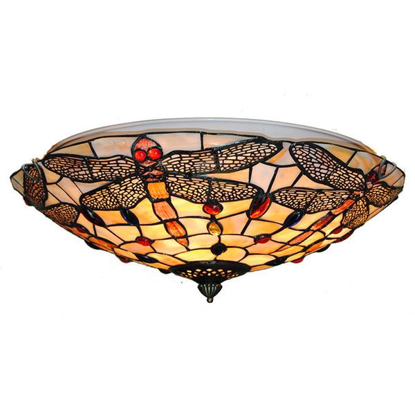 Plafoniere vintage in vetro tinto europeo Classic tiffanylamp Dragonfly Lampade a sospensione Illuminazione soggiorno camera da letto CL282