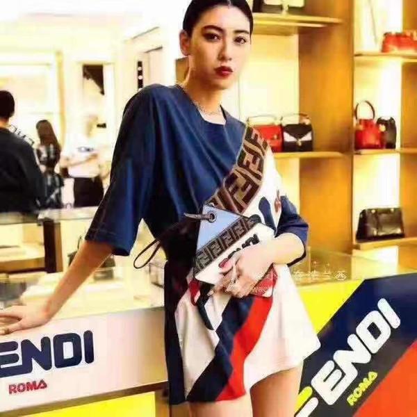 wholesale dealer a4876 08770 Großhandel Milan Runway Sweater 2019 Blauer Rundhalsausschnitt Kurzarm  Paneled Damen Pullover High End F Jacquard Pullover Damen Designer Pullover  ...