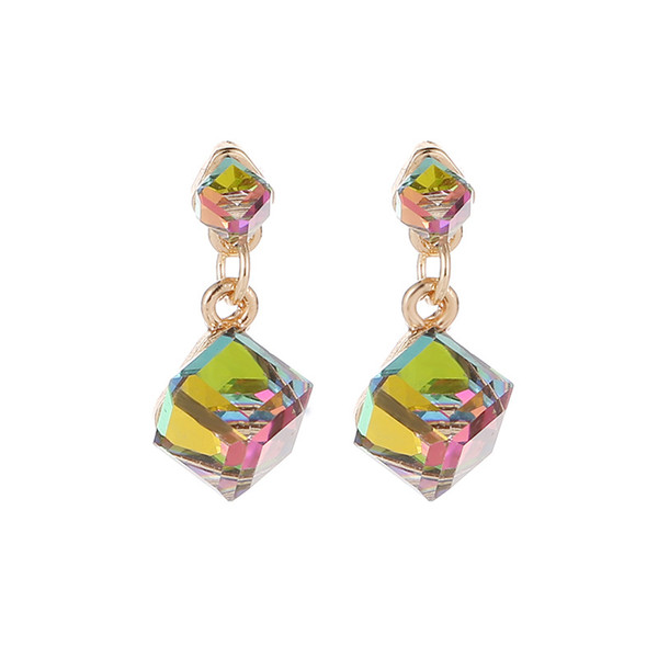 Fashion Square Geometric Crystal Drop Earring Women Personality Colorful/Green/Gray Dangle Earrings Charm Ear Jewelery Wholesale