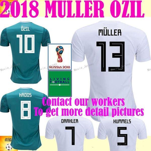 2018 Alemania Copa del Mundo casa blanca lejos verde fútbol Jersey MULLER  camiseta de fútbol Draxler dfe1ab44d3efb