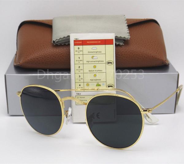 Erkekler Kadınlar Moda Güneş Gözlüğü Altın Siyah Yuvarlak Metal Çerçeve 50mm Cam Lensler Tasarımcılar Güneş Gözlükleri Mükemmel kalite Kahverengi kutu