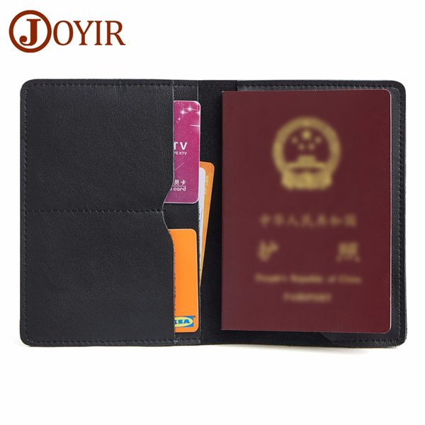 JOYIR Genuine Leather Men's Passport Cover Wallet Travel Card Case Passport Holder Women and Men's Vintage Business Card Holder