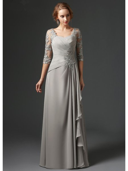 Silver 2018 Mother Of The Bride Dresses A-line 3/4 Sleeves Chiffon Lace Plus Size Long Elegant Groom Mother Dresses Wedding
