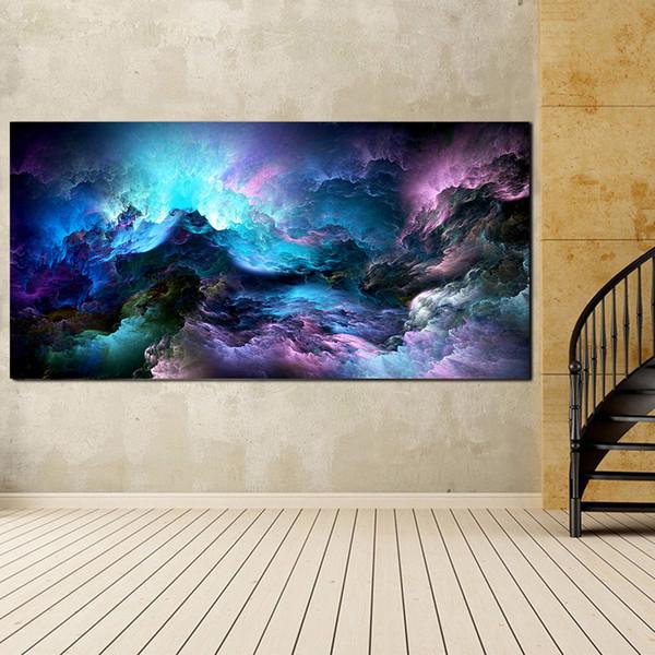 Acheter Grande Taille Mur Art Prints Nuage Peinture à L Huile Abstraite Coloré Décorations Peinture Bleu Pour Impression Accrochage Sans Cadre De