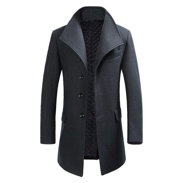 Cappotto invernale Uomini lunghi Calda giacca spessa Colletto rovesciato Tasche monopetto solidi Rosso Blu Grigio Mens Trench nero