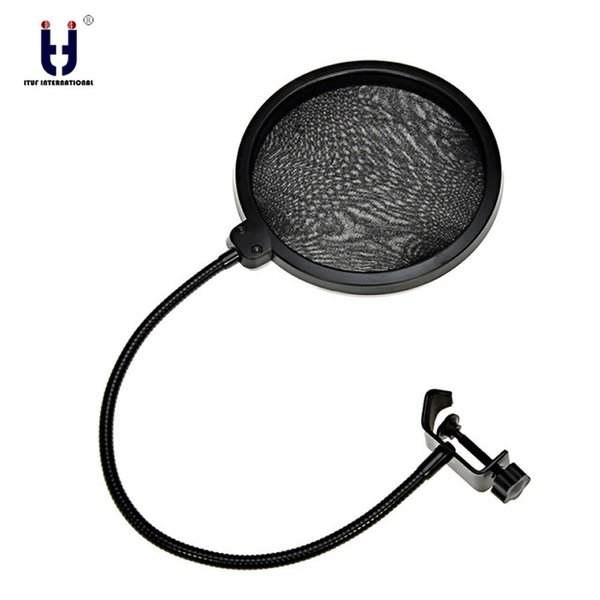 Double Layer Pop Filter PF-60 Black 6-Inch Clamp On Microphone Mic For Condenser Microphone Studio Recording Spray Guard Karaoke
