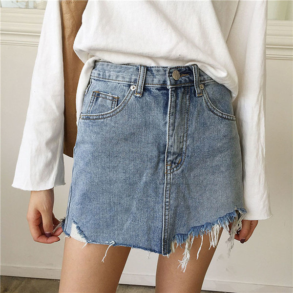 2018 Summer Women Jeans Skirt New High Waist Jupe Irregular Edges Denim Skirts Mini Saia Washed Faldas Casual Pencil Skirt
