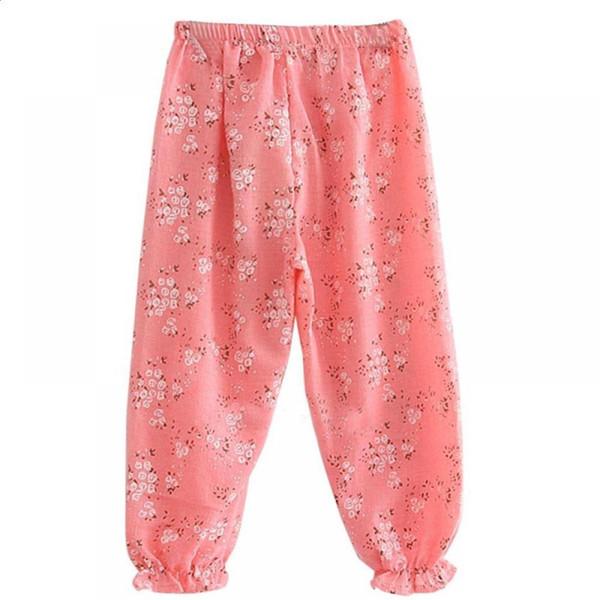 Pantalon Bahar Çocuklar için Sevimli Gevşek Kız Erkek Nefes Çiçek Tayt Çiçek Baskı Pantolon Bebek Yaz Pantolon