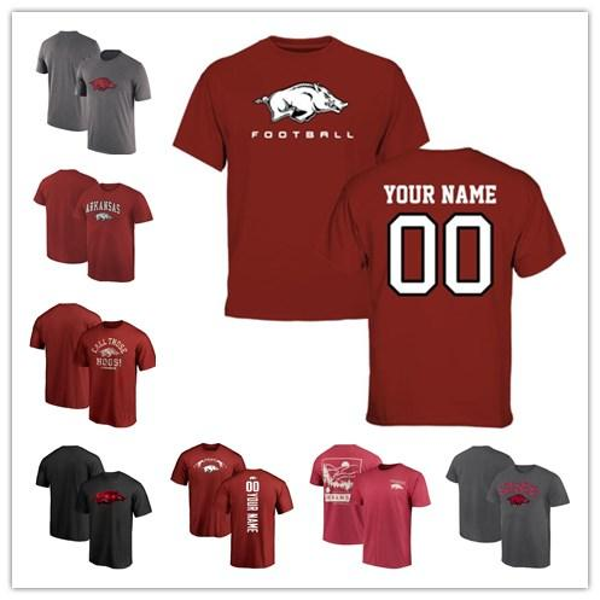Mens Arkansas Razorbacks Fanatics Branded Campus Midnight Mascot T-Shirt black grey red size S-XXXL free shipping