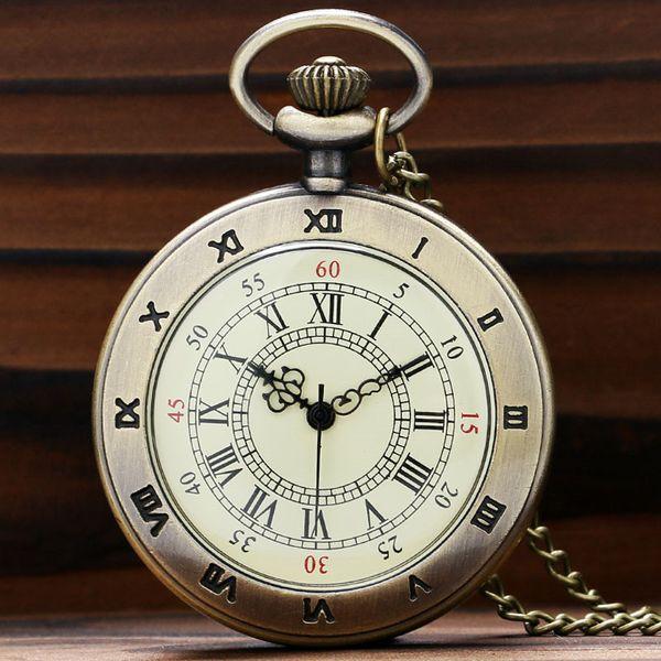 Reloj de bolsillo grande de la vendimia Números romanos clásicos Dial Collar delgado Relojes simples de la enfermera Regalos perfectos para la familia Amigos Navidad