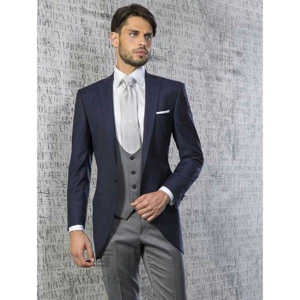 Custom men's suit three-piece suit (jacket + pants + vest) men's fashion slim suit wedding groom groomsmen dress