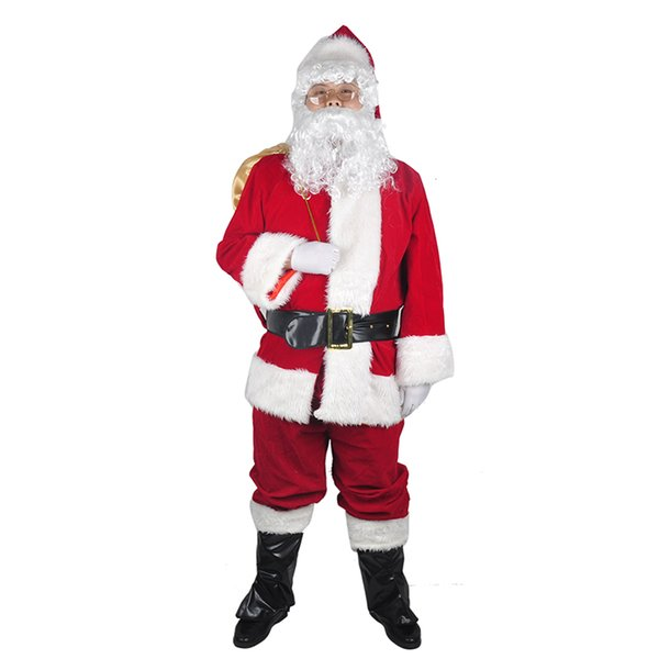 A Full Set Of Christmas Santa Claus Costumes Hat For Adults Blue Red Christmas Clothes Santa Claus Costume  Suit