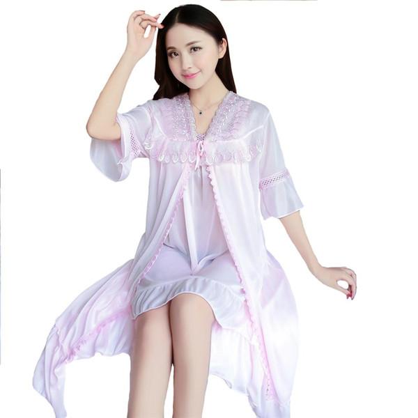 Pink Sexy Bride Wedding Twinset Robe Set 2018 New Women Kimono Bathrobe Gown Satin Sleepwear One Size Nightgown Nightdress