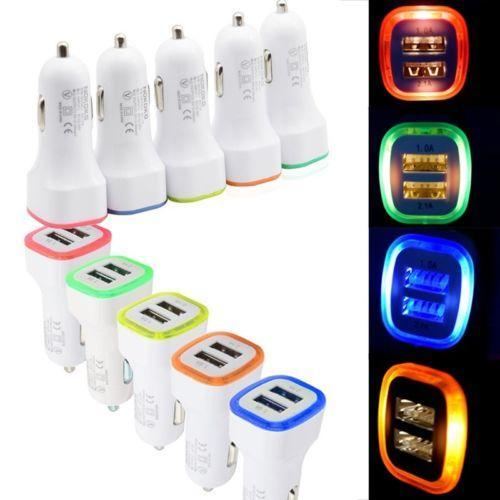 Mini order 3ps WHOLESALES Brand New 2.1A LED USB Dual 2 Port Adapter Socket Car Charger For Iphone/Samsung E262