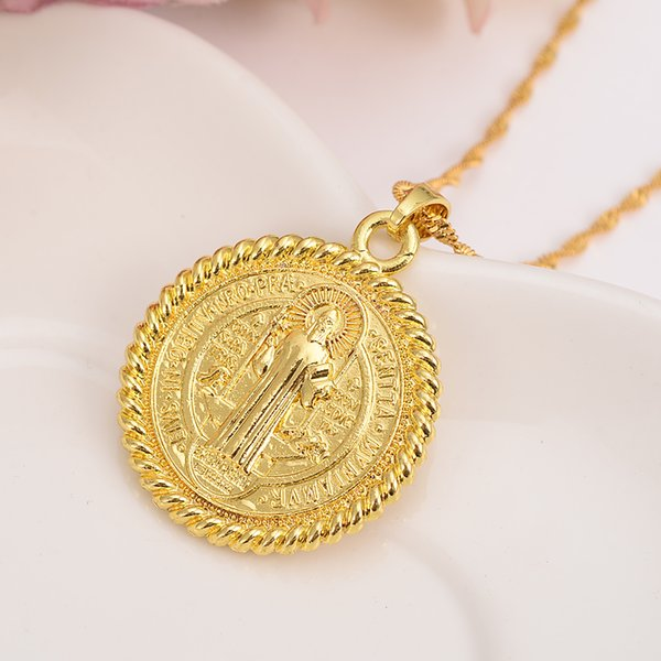Wholesale Cross Saint Benedict Medal Pendant Necklace Gold Color Catholic  Church Jewelry Gift For Women/Girl Catholic Necklaces Black Pendant  Necklace