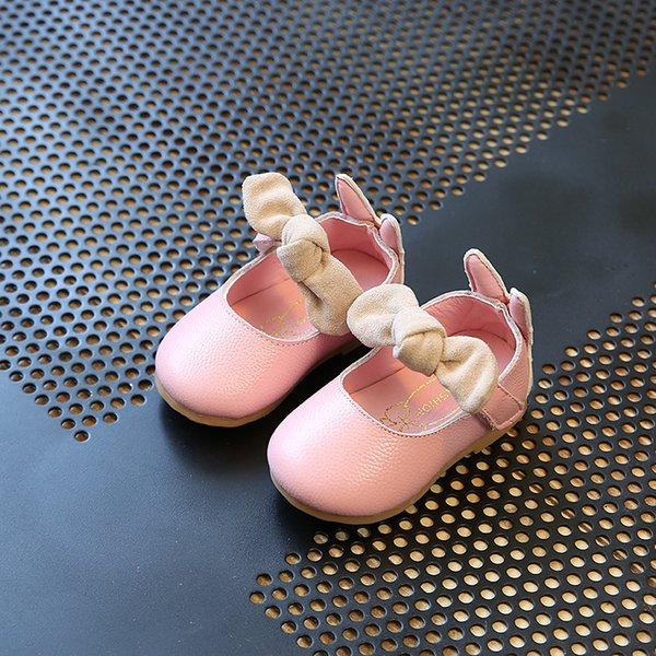 2018 NEW Little Baby Girls Shoes Black Genuine Leather Cartoon Shoes Pink Cute Beige Bow Princess Dress 11.8-13.8CM