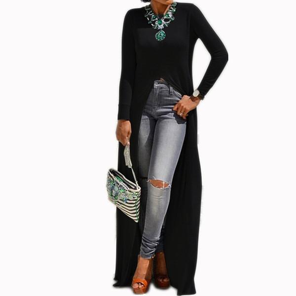 M-5XL Mode Femmes Celmia Printemps O Cou À Manches Longues Solide Slim Fit Haut Split Ourlet Chemise Casual High Street Blouse Top Blusas
