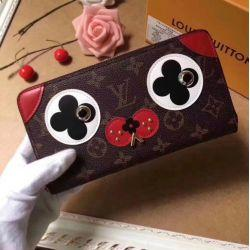 M67246 WOMEN CANVAS DOG DESGIN ZIPPER WALLET PURSE BAG wallet purse Belt Bags Mini Bags Clutches Exotics