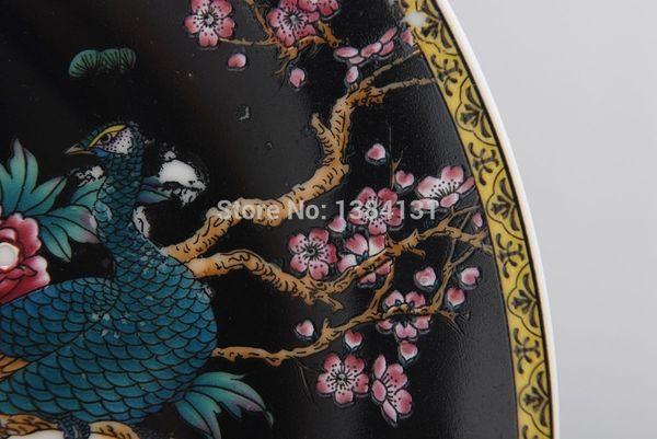 Al por mayor-chino antiguo dinastía Qing raro (qianlong) azul blanco placa de porcelana dragón colección de decoración
