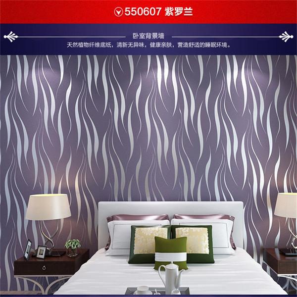 Papier peint minimaliste moderne non tissé Explosions du commerce extérieur gris argenté courbe pourpre chambre à coucher salon feuille d'herbe