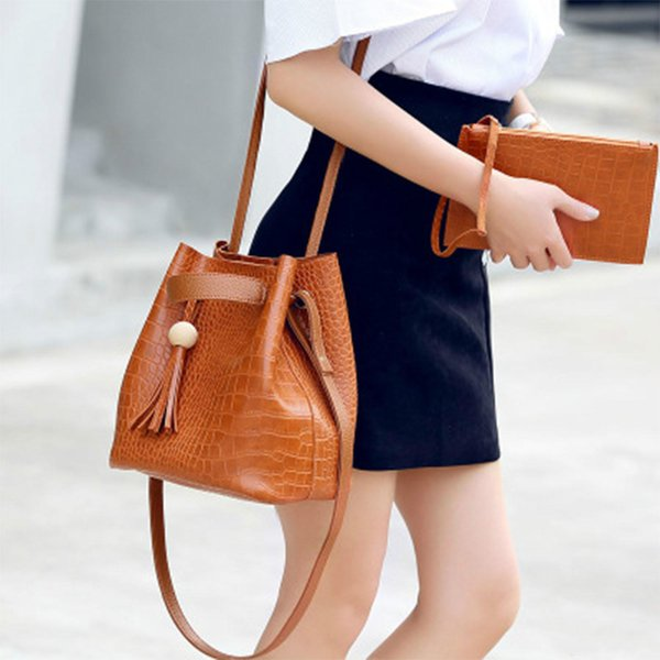 Neue Damen Leder Schultertasche Handtasche Eimer Tasche Allgleiches koreanischen weiblichen Krokodil Tasche Satchel Handtasche Crossbody Kordelzug Muster