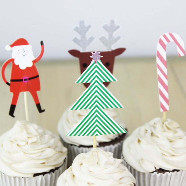 wholesale 72pcs/lot Christmas Theme Good Quality Cartoon Cupcake Topper Picks Kid Birthday Party Decorations Evnent Party Favors