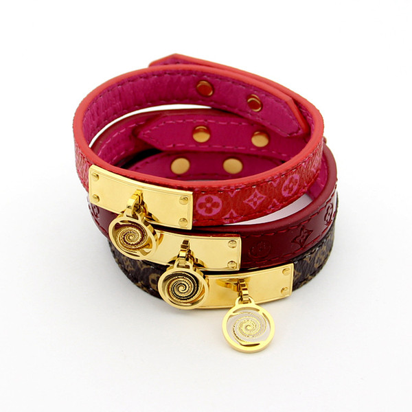 New style Elegant genuine leather bracelets with gold round design for women and men flower pattern bracelet Pulsera brand fine jewelry