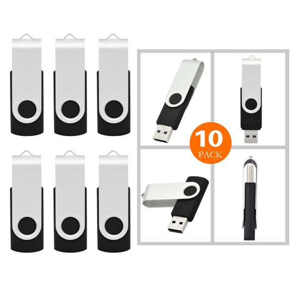 10X Black 16GB USB 3.0 Flash Drives Metal Rotating Flash Pen Drive Thumb Memory Stick Enough Storage for Computer Macbook Tablet Laptop
