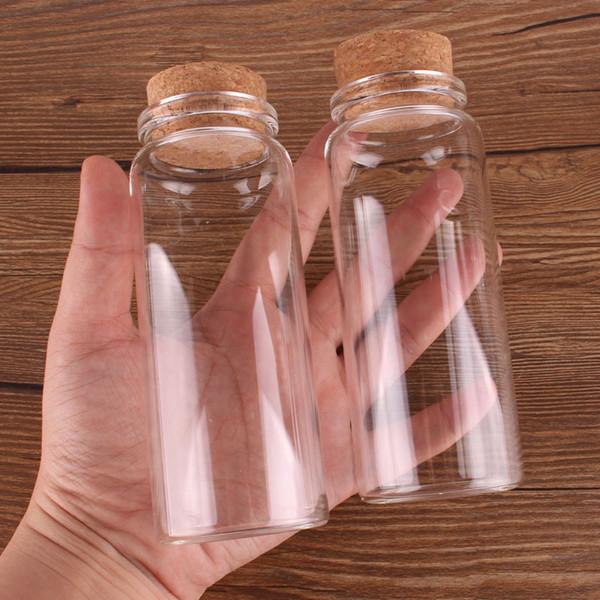 12pcs 47 * 120 * 33mm 150 ml Mini Verre Bouteilles Souhaitant Minuscules Bocaux Flacons Avec Bouchon De Liège cadeau de mariage