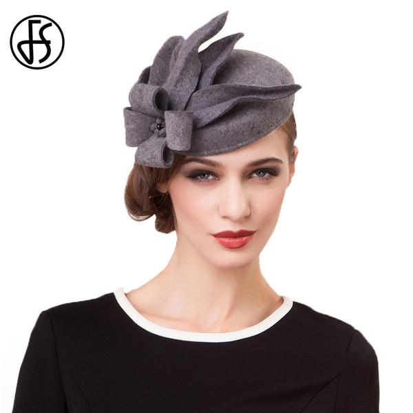 FS Fascinators For Women Elegant Wedding Wool Felt Hats Vintage Black Grey Pillbox Hat Ladies Winter Cocktail Floral Fedoras