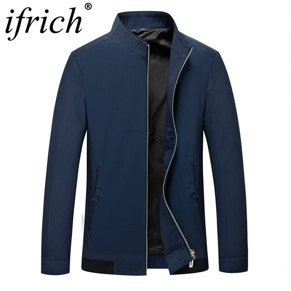 Mens Jacket Cargo Jackets New Design Plus Size Solid Navy Blue Casual Stand Male Windbreaker Cool 2018 Autumn and Spring for Man