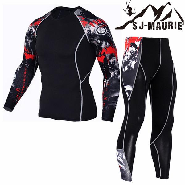 SJ-Maurie Conjunto Esportivo Masculino Hombres Correr Jogging Trajes de entrenamiento Deportes Set Long Shirt + Pants Gym Fitness Ropa