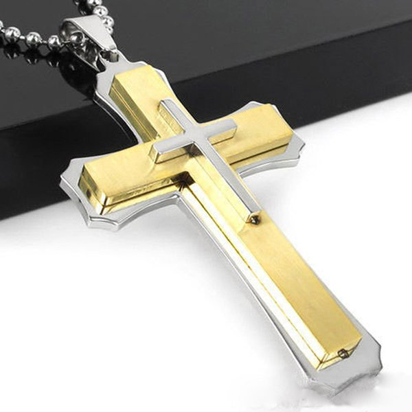 Heat Sell Golden Double-deck Stainless Steel Necklace Cross Necklace Man Necklace Cross Pendeloque Cut