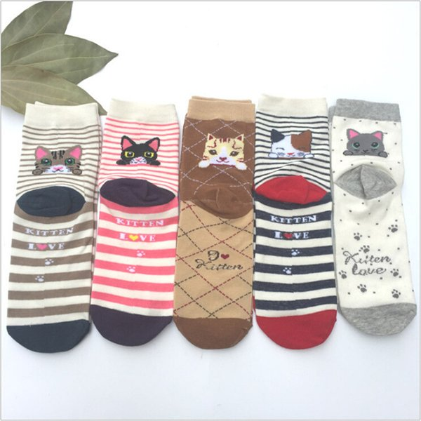 2019 New Baby Socks Cartoon Cat Socks Cartoon Cat Sock Lovely For Girl Women Cotton Socks