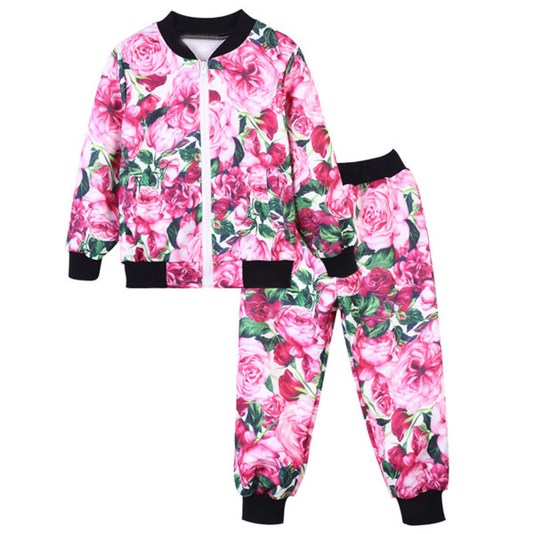 fashion girl set cute beauty flowers style floral tops pants set for 3-12years girls kids children cool outerwear clothing set
