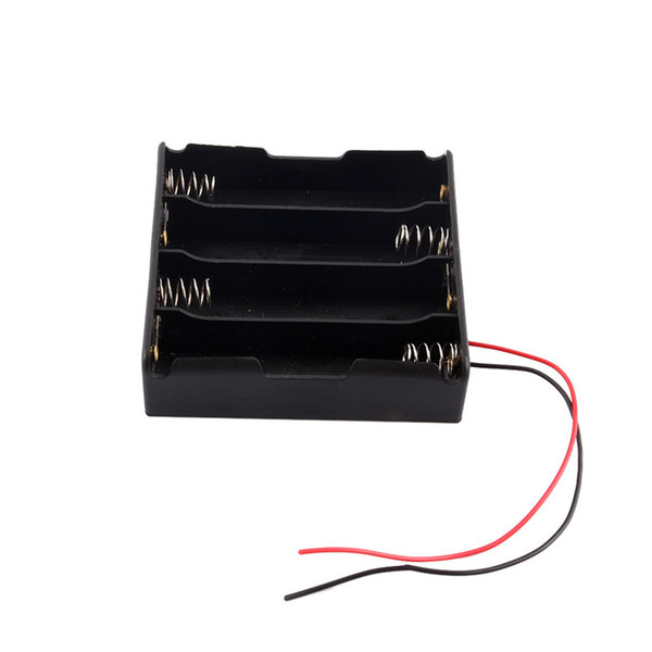 best selling New 1Pcs Black Plastic 4x18650 Battery 3.7V Clip Holder Storage Box Case With Wire Lead Free Shipping