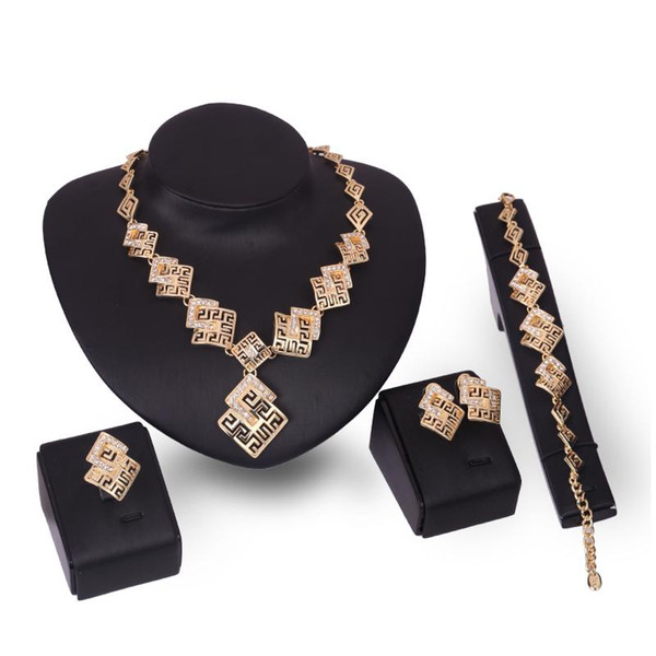 Earrings Necklace Bracelet Ring Jewelry Set Luxury Exquisite Rhinestone 18K Gold Plated Geometric Square Party Jewelry 4-Piece Set JS206