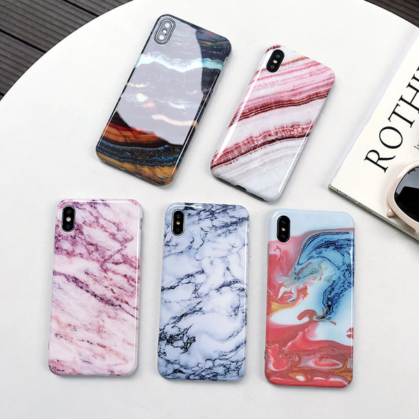 Kalın TPU Yumuşak Konut Kapak Telefon Kabuk Mermer Durumda iPhone 11 için Pro 2019 XS Max XR X 6 6 S 7 8 Artı