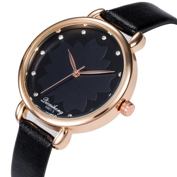 L'orologio rotondo di quarzo analogico della fascia di cuoio delle donne di alta qualità di modo delle donne di cristallo guarda il regalo Dropshipping