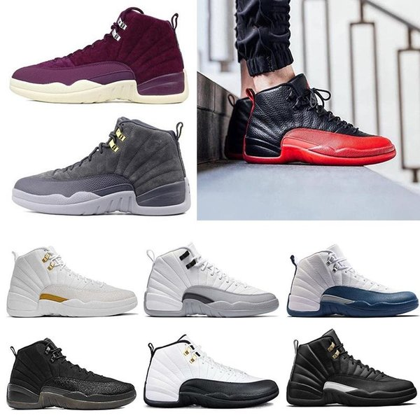 2018 Traderjoes Bordeaux Dark Wool 12 12s Basketball Shoes White Flu Game UNC Gym Red Gamma French Blue Suede Sneakers Mens Trainers